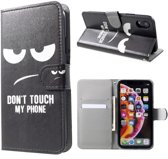 PU Leren wallet - iPhone XR - Don't touch my phone - Zwart