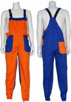 Yoworkwear Tuinbroek polyester/katoen oranje-korenblauw maat 44