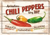 Metal card chili peppers -10x14cm-