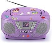 Bigben Draagbare Radio & CD-Speler met 200 Stickers - Eenhoorn/Unicorn - Paars