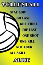 Volleyball Stay Low Go Fast Kill First Die Last One Shot One Kill Not Luck All Skill Alice