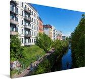 De wateren van Leipzig in Duitsland Canvas 180x120 cm - Foto print op Canvas schilderij (Wanddecoratie woonkamer / slaapkamer) / Europese steden Canvas Schilderijen XXL / Groot formaat!