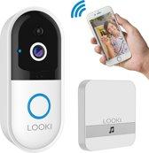 Looki® X5 draadloze video deurbel met camera - inclusief ontvanger en batterijen – via iOS & Android App - HD Wide-Angle camera – Bewegingssensor met alarm - Two-Way Audio - Cloud opslag - IR Nachtmodus - Met offline ring functie