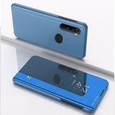 Let op type!! Voor Xiaomi Redmi Note 8 plating spiegel horizontale Flip lederen draagtas met beugel holster (blauw)