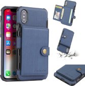 Let op type!! For iPhone XS Max Brushed Texture Shockproof PU + TPU Case  with Card Slots & Wallet & Photo Frame(Blue)