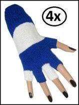 4x paar vingerloze handschoen blauw/wit