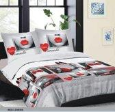 Swissation Dekbedovertrek Romantic Red Love Maat: Lits-jumeaux (240 x 200/220 cm + 2 kussenslopen)