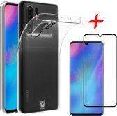 iCall - Huawei P30 Pro Hoesje + Screenprotector Full Screen - Transparant Siliconen TPU Soft Gel Case