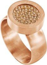 Quiges RVS Schroefsysteem Ring Rosékleurig Mat 17mm met Verwisselbare Zirkonia Goudkleurig 12mm Mini Munt