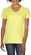 Basic V-hals t-shirt licht geel voor dames - Casual shirts - Dameskleding t-shirt licht geel L (40/52)