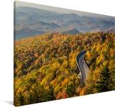 Luchtfoto van het landschap bij Blue Ridge Parkway in de Verenigde Staten Canvas 180x120 cm - Foto print op Canvas schilderij (Wanddecoratie woonkamer / slaapkamer) XXL / Groot formaat!