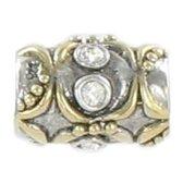 Quiges Bedel Bead - 925 Zilver - 14 Karaat Goud Verguld Patroon met Zirkonia Kraal - Z397