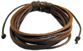 Fako Bijoux® - Armband - Leder - Multilayer - Bruin