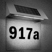 Huisnummer, witte achtergrond, ledverlichting, zonne energie, solar