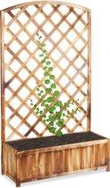 relaxdays plantenbak met klimrek - rankhulp - gevlamd - balkon - tuin - bloembak hout