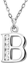 Montebello Ketting Letter B - Dames - Zilver gerhodineerd - Zirkonia - 45 cm