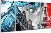 Glas schilderij Steden | Zwart, Blauw, Rood | 160x80cm 4Luik | Foto print op Glas |  F007037