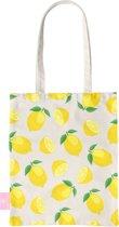 BEACHLANE - Katoenen tasje - Canvas Tote Bag Shopper - Lemons / Citroen / Citroentjes print - Schoudertas / Boodschappen tas