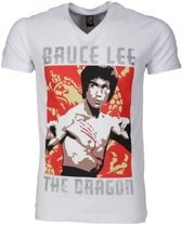 T-shirt - Bruce Lee the Dragon - Wit - Maat: