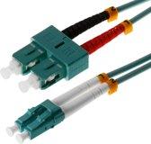 Helos 1m OM3 LC/SC Glasvezel kabel Turkoois