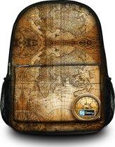 Sleevy rugzak wereldkaart en kompas design - schooltas
