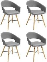 24Designs Inka Stoel - Set Van 4 - Grijs - Houten Poten