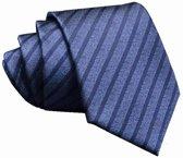 ThannaPhum Donkerblauwe zijden stropdas met zwarte strepen