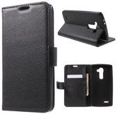 Litchi Cover wallet case hoesje LG K7 zwart
