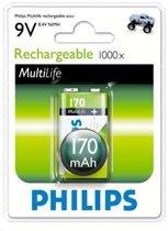 Philips Oplaadbare 9V batterij - 170mAh