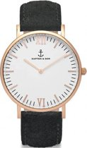 Kapten & Son Mod. Campina White RG Black Vintage Leather - Horloge