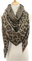 Warme herfst winter luipaard leopard panter print dames sjaal bruin acryl 140 x 190 cm