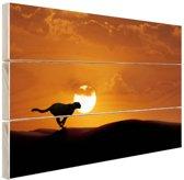 Silhouet rennende luipaard Hout 120x80 cm - Foto print op Hout (Wanddecoratie)