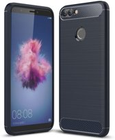 Huawei P Smart hoesje - Rugged TPU Case - blauw