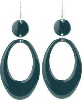 Behave® - ovale oorhanger dames petrol blauw