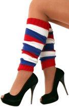 5x Paar Beenwarmers rood/wit/blauw