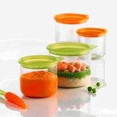 Mastrad LilPod Conserveerpotjes - Voor babyvoedsel - 150 ml en 300 m - Set van 4 stuks - Oranje - Groen