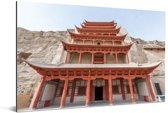 De schitterende tempel van de Grotten van Mògāo van dichtbij in China Aluminium 120x80 cm - Foto print op Aluminium (metaal wanddecoratie)