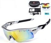 Sportbril – set met 5 verwisselbare glazen – zilver zwart – zonnebril