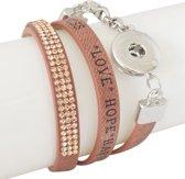 Lederen armband voor click buttons Kleur:Bruin - Lengte:One size