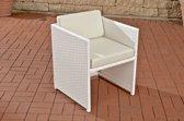 Clp Poly-rotan Wicker stoel / fauteuil TAHITI, aluminium frame, kussen - bruin gemeleerd Crème wit