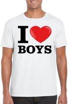 I love boys t-shirt wit heren 2XL