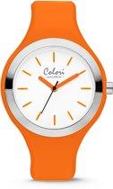 Colori Macaron 5 COL586 Horloge - Siliconen Band - Ø 44 mm - Oranje / Wit