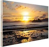 Zonsondergang in Azie  Hout 80x60 cm - Foto print op Hout (Wanddecoratie)