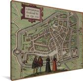 Een historische stadskaart van het Friese Leeuwarden Canvas - Plattegrond 40x30 cm - klein - Foto print op Canvas schilderij (Wanddecoratie woonkamer / slaapkamer)
