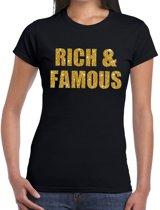 Rich and Famous gouden glitter tekst t-shirt zwart dames - dames shirt Rich and Famous M