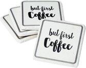 Onderzetter set van 4 - But first Coffee   6PR1040   Clayre & Eef
