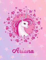 Ariana: Unicorn Sheet Music Note Manuscript Notebook Paper - Magical Horse Personalized Letter M Initial Custom First Name Cov