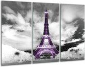 Glas schilderij Parijs, Eiffeltoren   Zwart, Wit, Paars   120x80cm 3Luik   Foto print op Glas    F007046