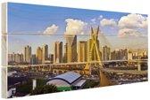 Skyline Sao Paulo Hout 60x40 cm - Foto print op Hout (Wanddecoratie)