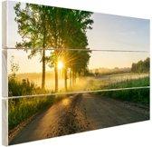 Zonsopkomst door de bomen Hout 160x120 cm - Foto print op Hout (Wanddecoratie) XXL / Groot formaat!